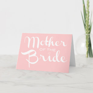 Mother of Bride Retro Script White On Pink Card