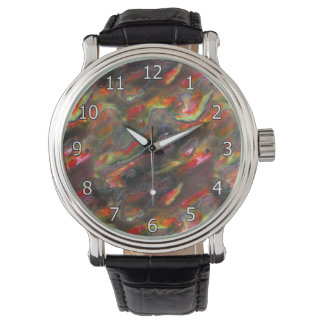 Mother Of Pearl Texture Red Photo Pattern Watch