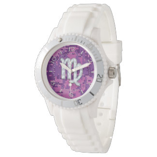 Mother of Pearl Virgo Zodiac on Pink Camo Dial Watch