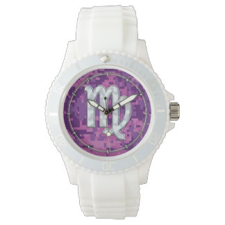 Mother of Pearl Virgo Zodiac on Pink Digital Camo Watch