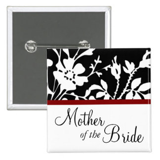 Mother of the Bride Black and White Floral Button