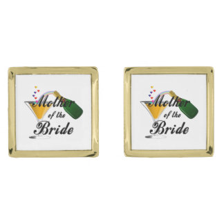 Mother Of The Bride Champagne Toast Gold Finish Cuff Links