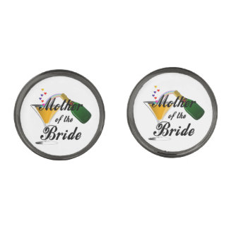 Mother Of The Bride Champagne Toast Gunmetal Finish Cuff Links