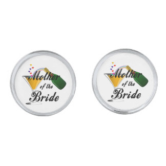 Mother Of The Bride Champagne Toast Silver Finish Cuff Links