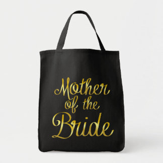 Mother of the Bride in Gold Cursive Black Tote Bag