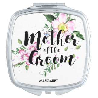 Mother of the Groom Pink Floral Watercolor Wedding Mirror For Makeup