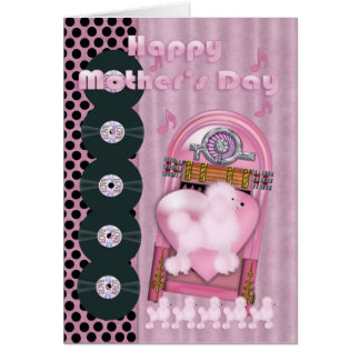 Mother s Day Rock Pink Poodle with vinal disks Greeting Cards