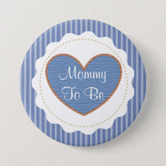 Mother to be blue & Brown Baby Shower Button