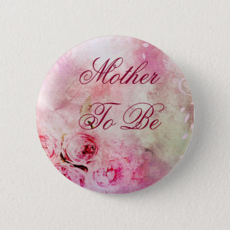 Mother to be Pink Flower Baby Shower Button