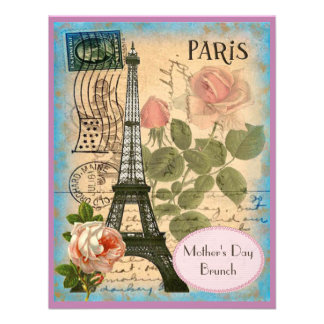 Mother's Day Brunch Paris Eiffel Tower & Roses Personalized Announcements