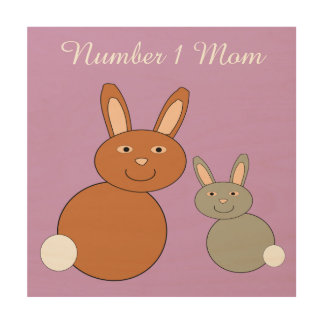 Mothers Day Bunnies Personalized Wood Canvas