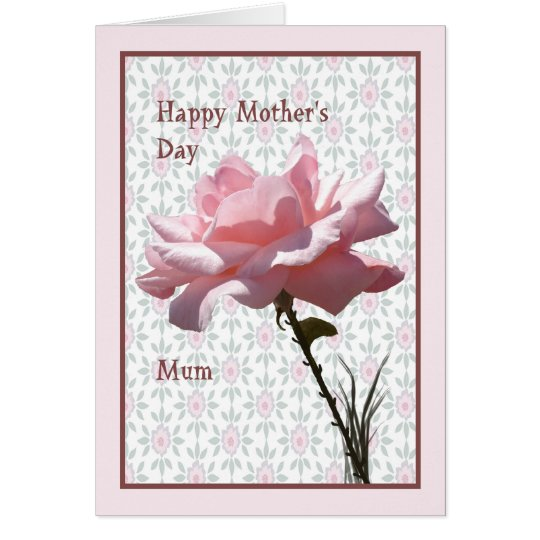 Mother's Day Card for Mum Pink Rose