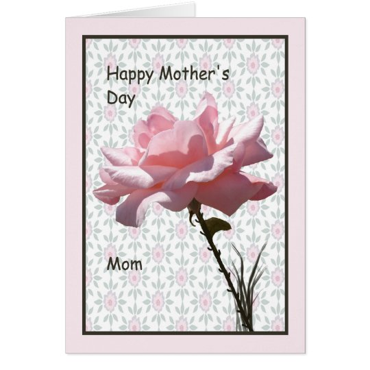 Mother's Day Card for Mum with Pink Rose