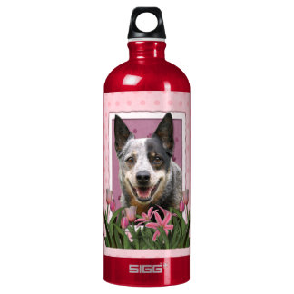 Mothers Day - Pink Tulips - Australian Cattle Dog Water Bottle