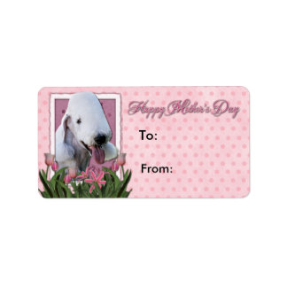 Mothers Day - Pink Tulips - Bedlington Terrier Label