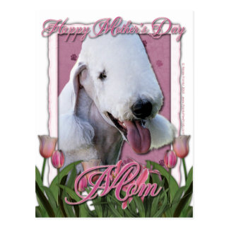 Mothers Day - Pink Tulips - Bedlington Terrier Postcard