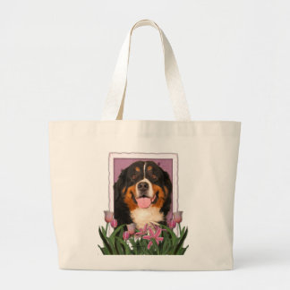 Mothers Day - Pink Tulips - Bernese Mountain Dog Large Tote Bag