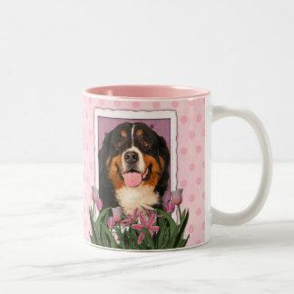 Mothers Day - Pink Tulips - Bernese Mountain Dog Two-Tone Coffee Mug