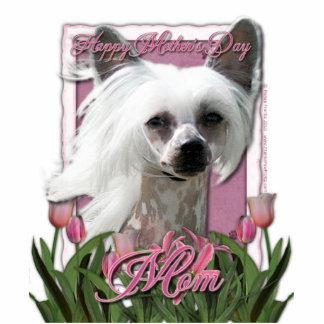Mothers Day - Pink Tulips - Chinese Crested -Kahlo Standing Photo Sculpture