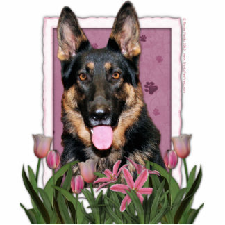 Mothers Day - Pink Tulips - German Shepherd - Kuno Standing Photo Sculpture