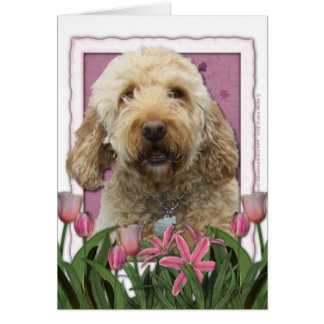 Mothers Day - Pink Tulips - GoldenDoodle Card