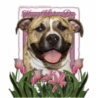 Mothers Day - Pink Tulips - Pitbull - Tigger Standing Photo Sculpture