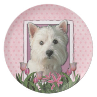 Mothers Day - Pink Tulips - Westie Plate