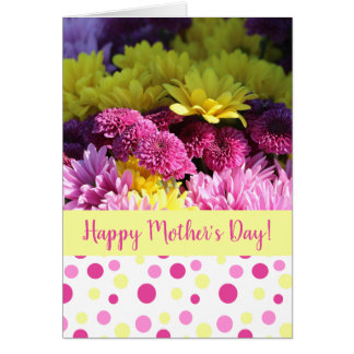 Mother's Day, Pink & Yellow Daisies, Polka Dots Card