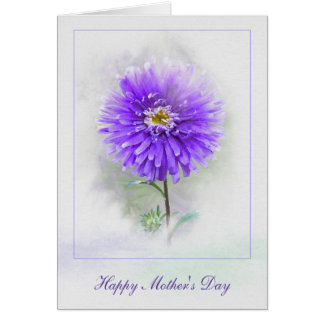 Mother's Day-purple dahlia in watercolor Card