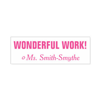 "Motivating ""WONDERFUL WORK!"" Teacher Rubber Stamp"