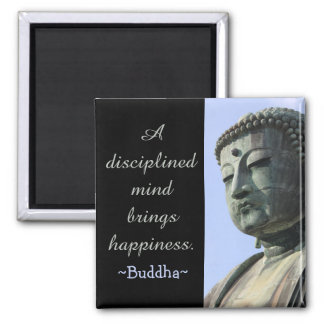 Motivational Buddha Happiness Quote Square Magnet