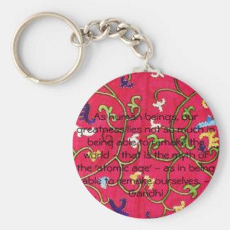 Motivational Quote inspirational Gandhi Key Ring