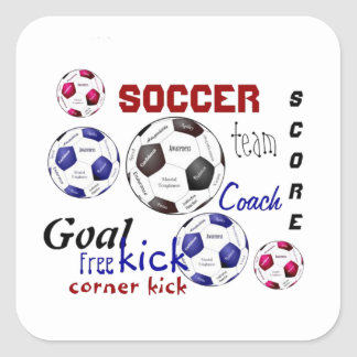 Motivational Soccer Game, Sports Words Square Sticker
