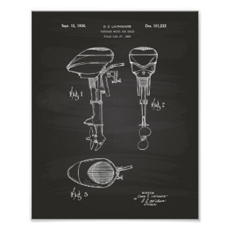 Motor For Boats 1936 Patent Art Chalkboard Poster