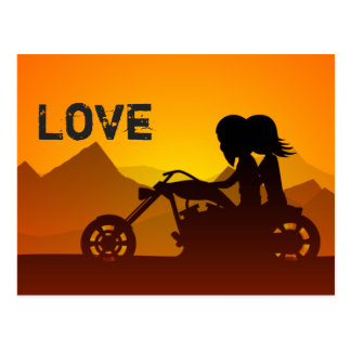 Motorcycle Couple LOVE Mountains Postcard