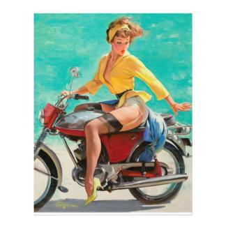 Motorcycle Pinup Girl - Retro Pinup Art 21.5 Cm X 28 Cm Flyer