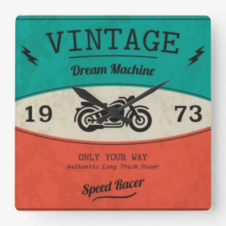 Motorcycle Vintage Dream Square Wall Clock