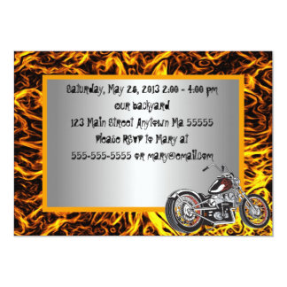 Motorcyle Flames Birthday Invitation
