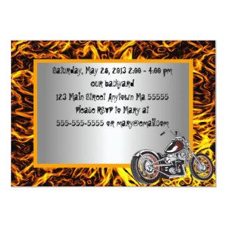 Motorcyle Flames Birthday Invitation