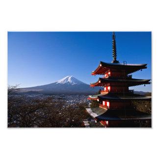 Mount Fuji and red pagoda Art Photo