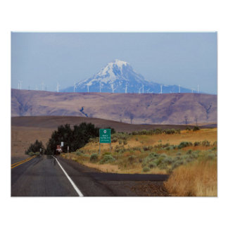 Mount Hood and Wind Turbines, Oregon Poster