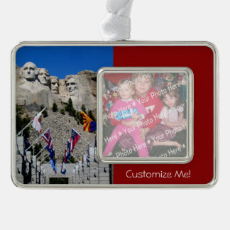 Mount Rushmore Customisable Photo Souvenir Silver Plated Framed Ornament