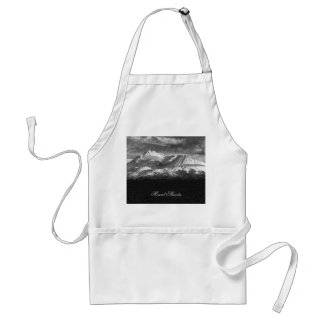 MOUNT SHASTA IN BLACK AND WHITE ADULT APRON
