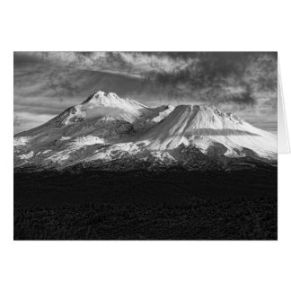 MOUNT SHASTA IN BLACK AND WHITE GREETING CARD