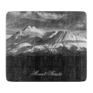 MOUNT SHASTA IN BLACK AND WHITE CUTTING BOARDS