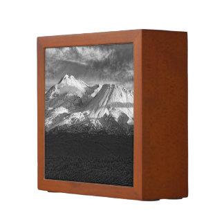 MOUNT SHASTA IN BLACK AND WHITE DESK ORGANIZER