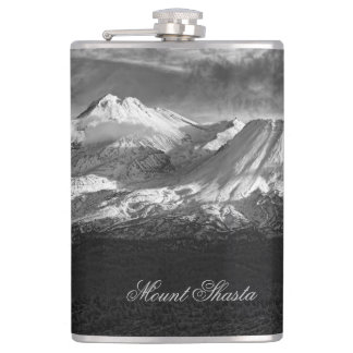 MOUNT SHASTA IN BLACK AND WHITE FLASKS