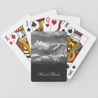 MOUNT SHASTA IN BLACK AND WHITE PLAYING CARDS