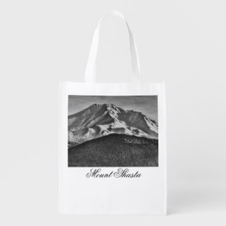 MOUNT SHASTA IN BLACK AND WHITE MARKET TOTES
