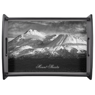 MOUNT SHASTA IN BLACK AND WHITE SERVING TRAY